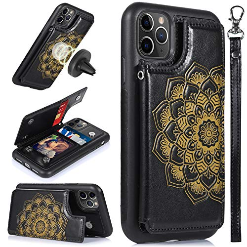 CASEOWL Mandala Embossed Case for iPhone 11 Pro 5.8 inch,iPhone 11 Pro Wallet Case with Card Holder,RFID Blocking,Stand,Wrist Strap,Fit Magnetic Car Mount, Leather Back Flip Cover Case (2019),Black