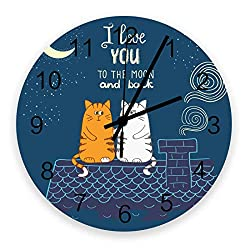 12 Inch Round Wooden Wall Clock, Two Cats' Love Confession Under The Moon Non Ticking Silent Wall Clock, Quartz Battery Operated Easy to Read Decorative Clock for Living Room/Bedroom