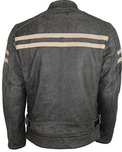 Herren Motorrad Retro Lederjacke (4XL) - 5