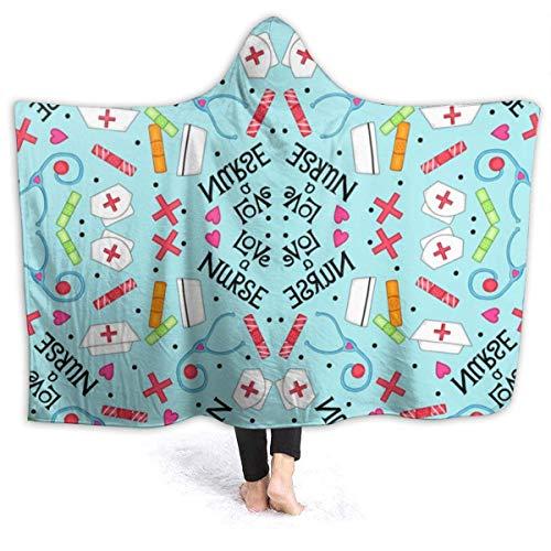 Dor675ser Manta con capucha de 152 x 203 cm para niños adultos, manta suave y cálida para tumbona, para leer y ver la televisión, Love A Nurse, mantas de gran tamaño