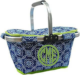 Personalized Monogrammed Collapsible Insulated Picnic Basket Market Tote - Blue and White Lattice