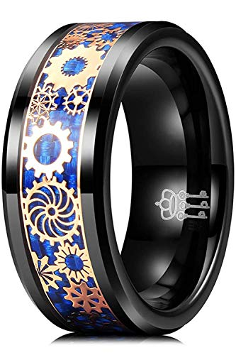 Three Keys Jewelry Tungsten Carbide Gear Mens 8mm Wedding Ring Polish for Him Punk Mechanical Foil Inlay Engrave Engagement Blue Black Size Q