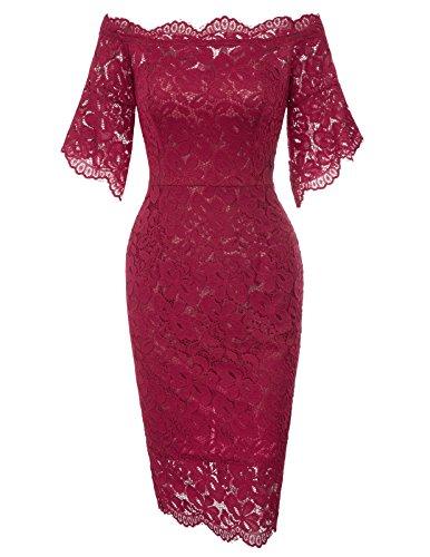 Women's Trendy Slim Waist Lace Bridesmaid Short Bodycon Dress L Wine