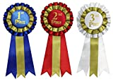 Premium Award Ribbons Blue,Red,White - 1st, 2nd, 3rd Place - 1 Set (3 Ribbons)
