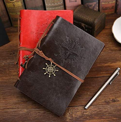Bloc de notas de diario enespiralAnclas piratas vintage Cuaderno de notas de cuero de Pu Papelería reemplazable Regalo Diario de viajero