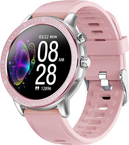 Smartwatch Fitnessuhr Voller Touchscreen Armbanduhr mit Pulsmesser Schrittzähler Kalorienzähler Schlafmonitor Elegant Sportuhr Rosa Schwarz Grau