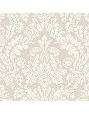RT rasch behang 449020 beige met lichte ornamenten in vintage stijl - 10,05 m x 53 cm (l x b) vliesbehang collectie Florentine