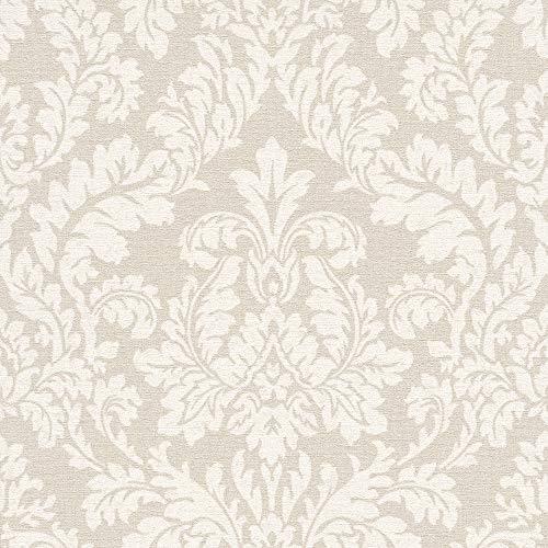 RT rasch Tapete 449020 Beige mit hellen Ornamenten im Vintage Stil – 10,05m x 53cm (L x B) VliesTapete Kollektion Florentine