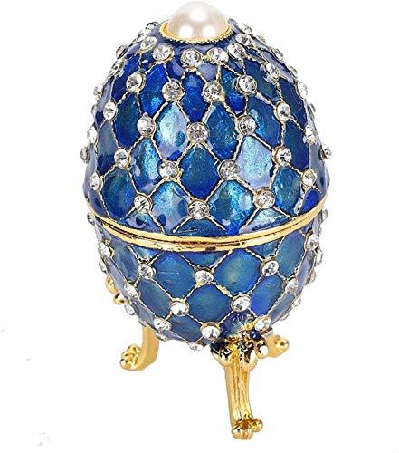 KEEBON Huevo esmaltado de Colores Ricos duraderos, Forma de Huevo Decoración para el hogar Crafts Joyería Tinket Box Elegantes Amigos para Mujer Regalos