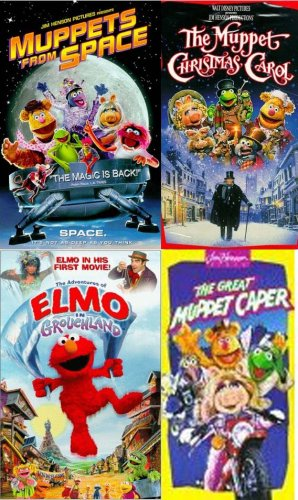 elmo & muppets set 4 vhs: Muppets From Space (Clam), Muppet Christmas Carol, Adventures of Elmo in Grouchland, The Great Muppet Caper