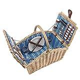 anndora Picknickkorb 4 Personen Weidenkorb Henkelkorb beige + Zubehr 23 TLG. - blau gestreift