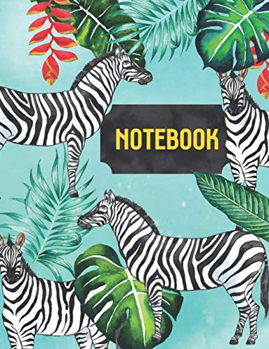 Cute Zebra Notebook: Earth Note Series - Cute Zebra Journal, Tree, Leaves, Red Flower with Zebra Pattern Black And White Stripe Log Book For Zoo Lovers, African Animal Enthusiast