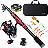 Sougayilang Telescopic Fishing Rod Combos withProtable Fishing Pole Spinning Reels Fishing Carrier Bag for Travel Saltwater Freshwater Fishing(2.7M/8.86FT)