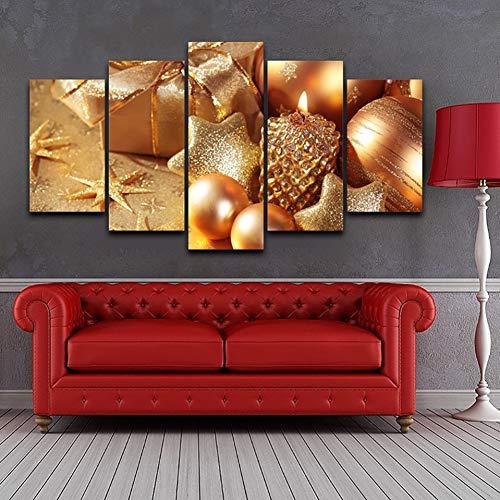 TBDZPS 5 Panel Wohnkultur Wohnzimmer Modulare Hd Gedruckt Exquisite Weihnachtssachen Wandkunst Malerei Leinwand Poster Bilder