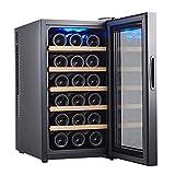 LLZH Vinoteca de 18 Botellas, Refrigerador de Bodega de Mostrador, Nevera de Vino Pequeño de Humedad Constante, Pantalla Digital de Temperatura, Puerta de Vidrio, Negro,Beech Wood Shelves