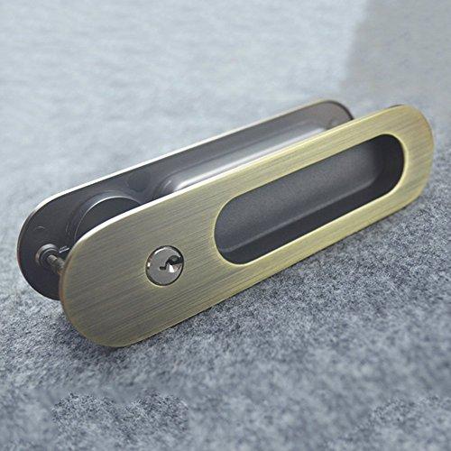 Unsichtbar Tür Schlösser mit 3Schlüssel für Schiebetüren Barn Holz Tür, holz, bronze, 160x40cm