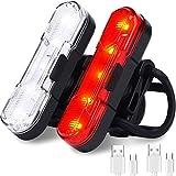 HASAGEI Luz trasera para bicicleta (2 unidades), recargable por USB, resistente al agua, luz trasera para bicicleta con 4 opciones de modo de luz para seguridad