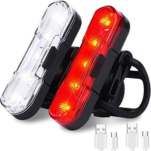 HASAGEI Fahrrad-Rücklicht (2 Stück), USB wiederaufladbar, wasserdicht, Fahrrad-Rücklicht mit 4 Lichtmodi für Sicherheit beim Radfahren (rot + weiß)