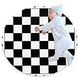 HDFGD Alfombra decorativa sala de estar redonda alfombra niña alfombra yoga alfombra lavable sala de estar alfombra, negro blanco cuadros tablero de ajedrez