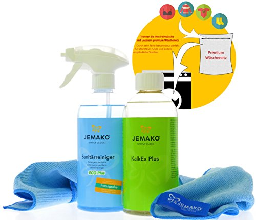 Jemako Reiniger-Set Sanitärgrundreiniger (500 ml-Flasche + Schaumpumpe) - KalkEx Plus (500 ml-Flasche) - Profituch blau (40 x 45 cm) - inkl. Sinland feinmaschiges Wäschenetz