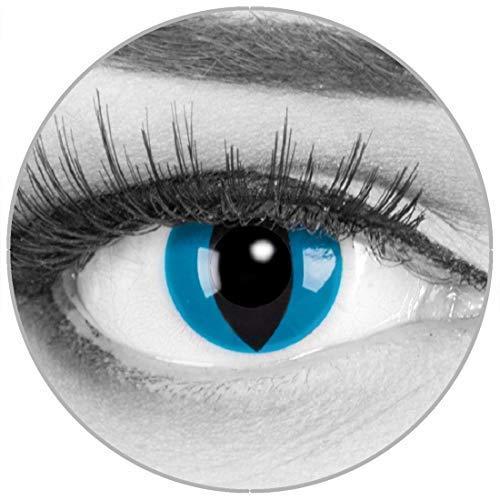 Funnylens Farbige blaue Kontaktlinsen Katzenaugen Mystic Cat - weich ohne Stärke 2er Pack + gratis Behälter – 12 Monatslinsen - perfekt zu Halloween Karneval Fasching oder Fasnacht