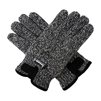 Bruceriver Mens Wool Knit Gloves with Warm Thinsulate Fleece Lining and Durable Leather Palm Size S/M  Melange Grey