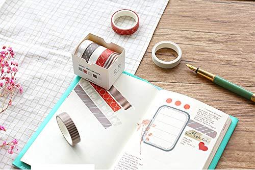 VOANZO - 10 rotoli di nastro Washi Tape, strisce quadrate Washi Tape, set per bullet Journal, agende, confezione regalo, decorazione natalizia