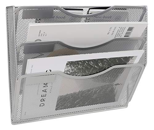 EasyPAG A4-Netz-Ablage mit 3 Etagen, Wandtasche, Aktenhalter, Zeitschriftenhalter, silberfarben