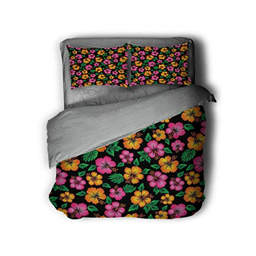 Luoiaax Hawaii Hotel Luxury Bed Linen Floral Bouquet Tropical Sketch Style Botany Garden Theme Aloha Polyester - Soft and Breathable (Twin) Orange Hot Pink Forest Green