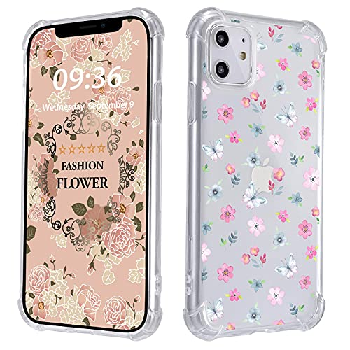 Watercolor Flower Floral iPhone 6/6S Plus Case,Ultra Drop-Proof Transparent Phone case with Four Corners airbag,Cover Case for Apple iPhone 6 Plus/iPhone 6S Plus,Plum Blossom Butterfly