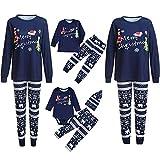 Pijamas de Navidad Familia Conjunto Pantalon y Top Pijamas Mujer Hombre Invierno Manga Larga Pijama de Dormir 2 Piezas Niños Niña Ropa de Dormir para Bebés Mamá Papá Romper Homewear vpass