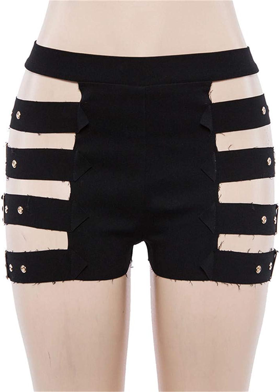 Women's High Waist Rivet Shorts Slim Skinny Hollow Hot Pants Nightclub Clothing,Black,S