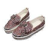 Zapatos De Mujer, Mujer Bowknot Rhinestones Zapatillas De Deporte De Plataforma Baja Mocasines para Caminar Zapatos De Enfermera Pink 39