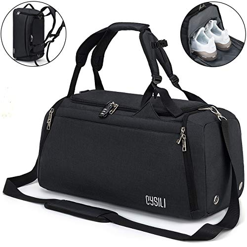 CySILI Sports Duffle Bag with Shoes Compartment and Wet Pocket, Gym Bag for Men and Women, Durable Travel Duffel Bag with Shoulder Strap and Combination Lock (Black)
