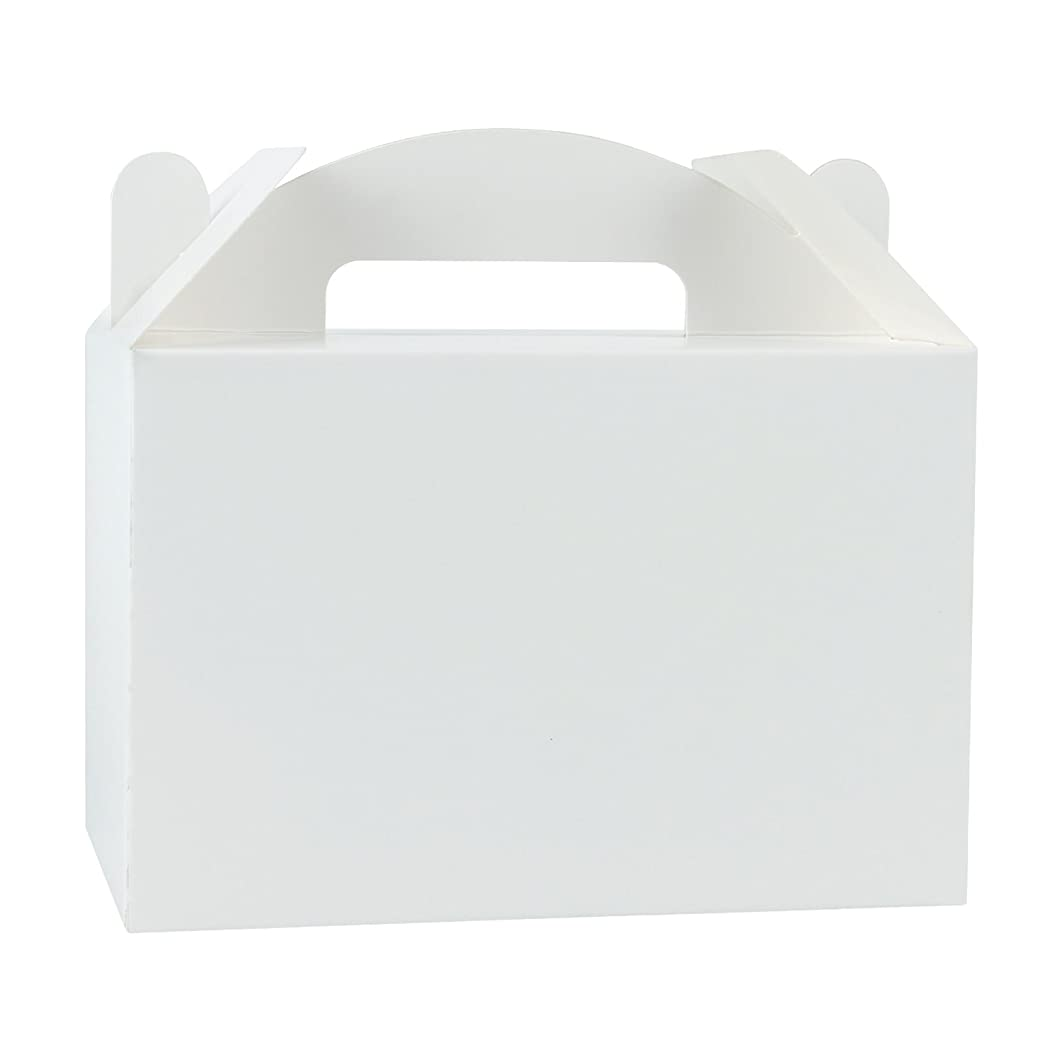 LaRibbons 12 Pack Treat Gift Boxes - 8.5 x 4.75 x 5.5 inches White Paper Box Recycled Kraft Gift Box Birthday Party Shower Favor Box