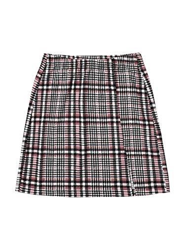 DIDK Damen Röcke Kariert Kurz Rock Elastische Taille Minirock Karo Preppy Röcke mit Schlitz Plaid Skirt Casual Sommerrock Braun XL
