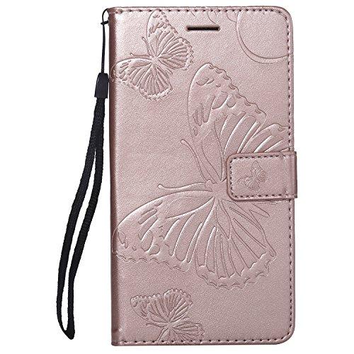 FEYYXI Handyhülle für LG Stylo2/Stylo 2V/Stylus 2/Stylus2 Plus Hülle Leder Schutzhülle Brieftasche mit Kartenfach Stoßfest Handyhülle Hülle für LG Stylo 2 Plus - FEKT41548 Rosa Gold