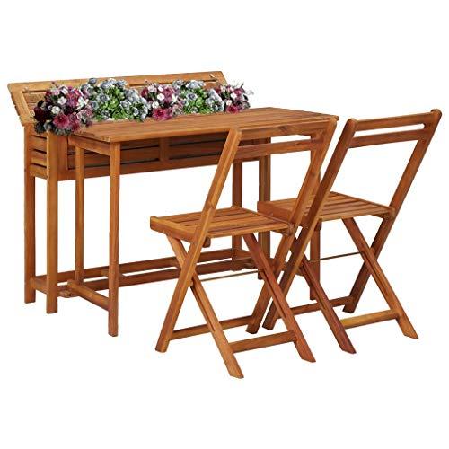 FAMIROSA Mesa de bistró con 2 sillas y Jardinera Madera Maciza de Acacia