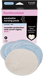 Bamboobies Washable Nursing Pads For Breastfeeding, Reusable Breast Pads, 4 Pairs - Overnight, Value Pack