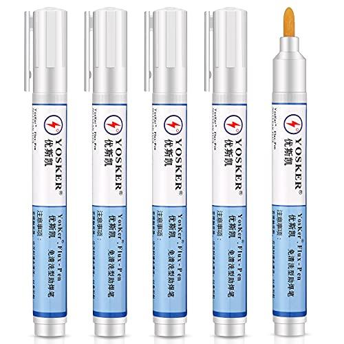5 Pieces No Clean Solder Flux Pen 5.6 Inch Length for Electronics Tabbing Wire Soldering Welding Repair