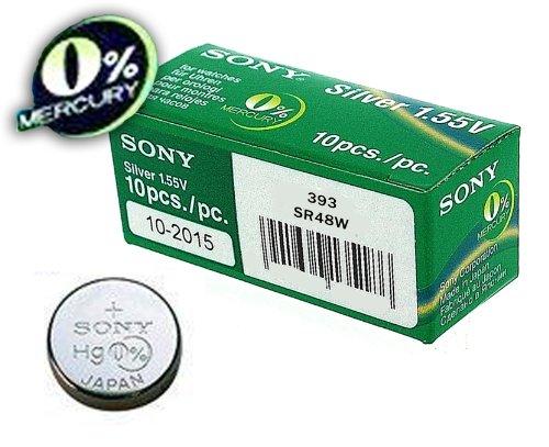 Sony 393 SR48W - Batteria per orologio, 1 unità, all'ossido d'argento con 0% di mercurio