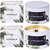 CHLOEFU LAN Citronella Candles Outdoor and Indoor 13.5 Oz Large Scented Candles with Pure Lemongrass Essential Oil and Natural Soy Wax for Garden Patio Yard Home Balcony, Wood Wicked Candles 2 Pack