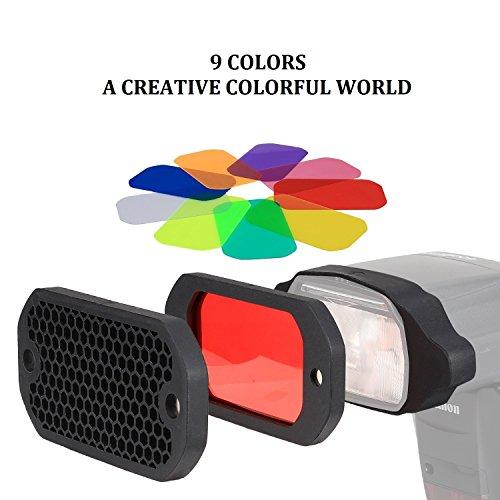 PHOLSY Griglia a nido d'ape Universale Flash Gel Filtro Illuminazione Kit con Equilibrio di Colore Correzione per flash Canon Nikon Sony Godox Yongnuo etc.