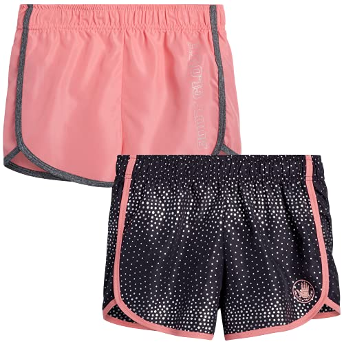 Body Glove Girls 2 Pack Athletic Gym Workout Yoga Running Shorts, Size 12, Charcoal Polka-Dots/Coral
