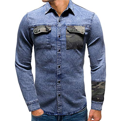 Men's Denim Shirt Long Sleeve Slim Fit Business Casual Denim Shirt Classic Vintage Men's Tops Breathable Comfortable Shirt Camouflage Patchwork Chest Pockets Modern Fashionable Shirt Top