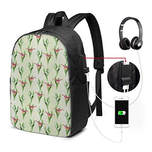 Laptop Rucksack Business Rucksack für 17 Zoll Laptop, Blume 800 Schulrucksack Mit USB Port für Arbeit Wandern Reisen Camping, für Herren Damen