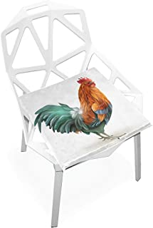 TSWEETHOME Comfort Memory Foam Square Chair Cushion Seat Cushion with Colorful Rooster Chair Pads for Floors Dining Office Chairs