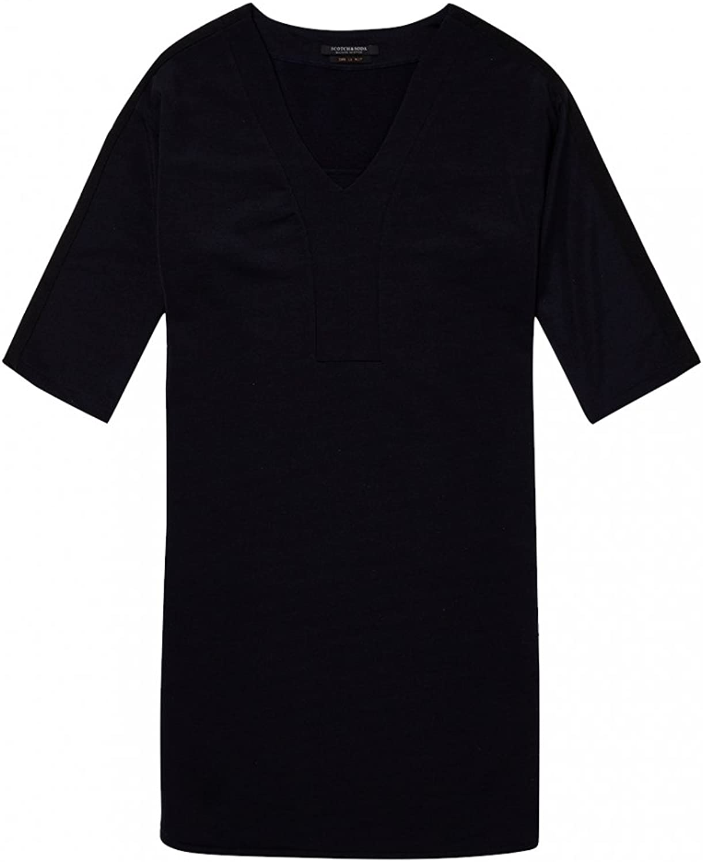 Maison Scotch VNeck Sweat Panel Sleeved Womens Dress