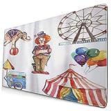 HUAYEXI Alfombrilla Gaming,Elementos de Circo con Payaso Elefante Globos Carrito de Helados Ilustración Acuarela,con Base de Goma Antideslizante,750×400×3mm