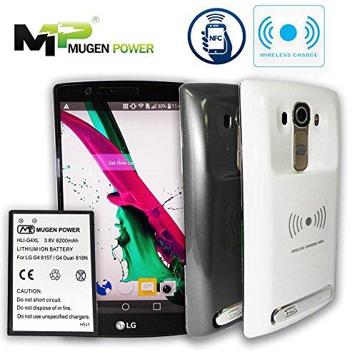 Mugen Alimentación - LG G4 815T / G4 Dual 818N 6200mAh batería extendida con cubierta (NFC + carga inalámbrica compatible) (blanco)